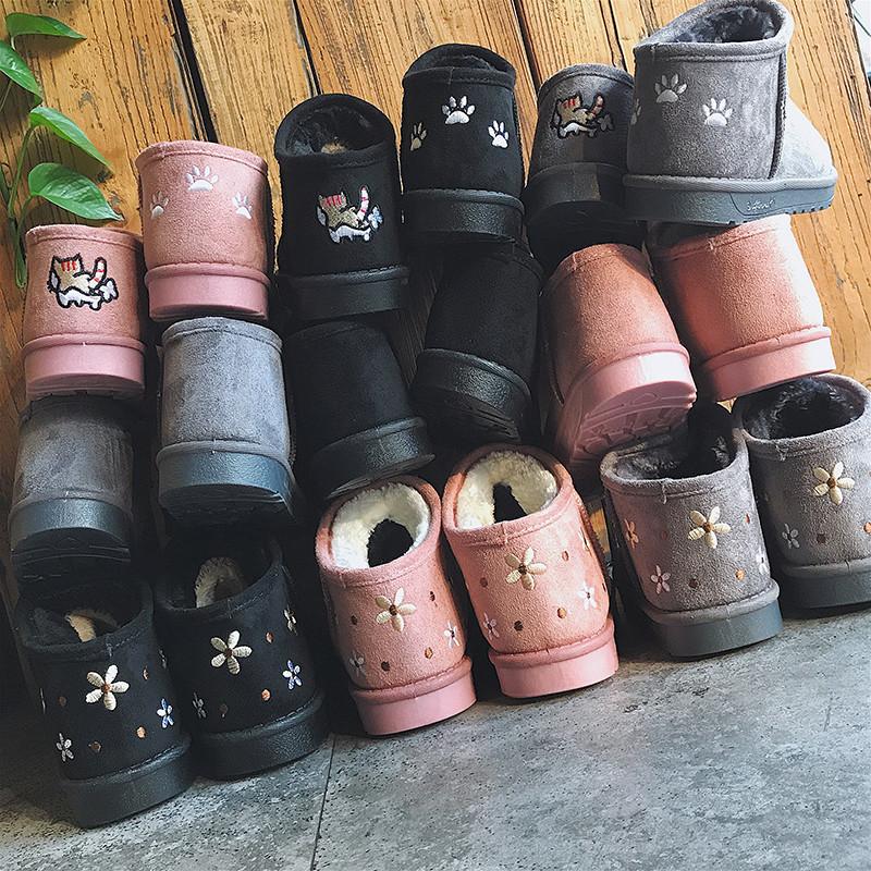 冬季2018新款雪地靴女短筒韩版潮雪地棉百搭学生一脚蹬低帮面包鞋