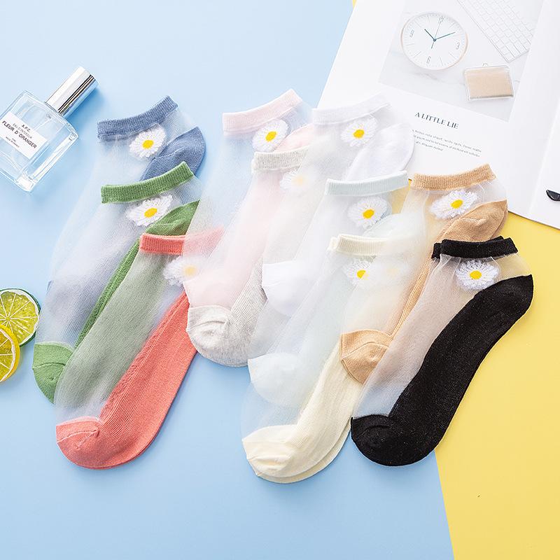 飘花伊人夏季超薄隐形蕾丝袜子女甜美小雏菊浅口防滑冰丝水晶短袜
