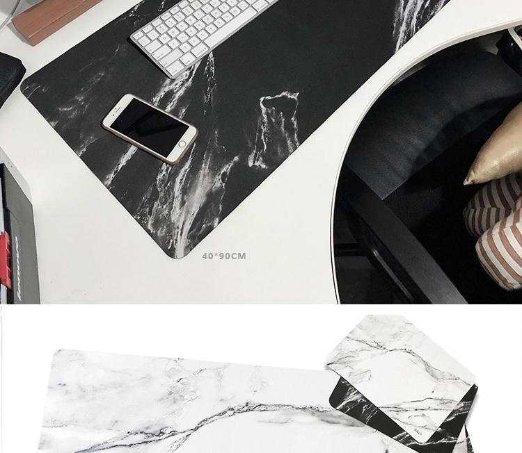北歐ins辦公室桌墊 大理石紋滑鼠墊超大加厚護腕筆記本電腦鍵盤墊YXLM14208