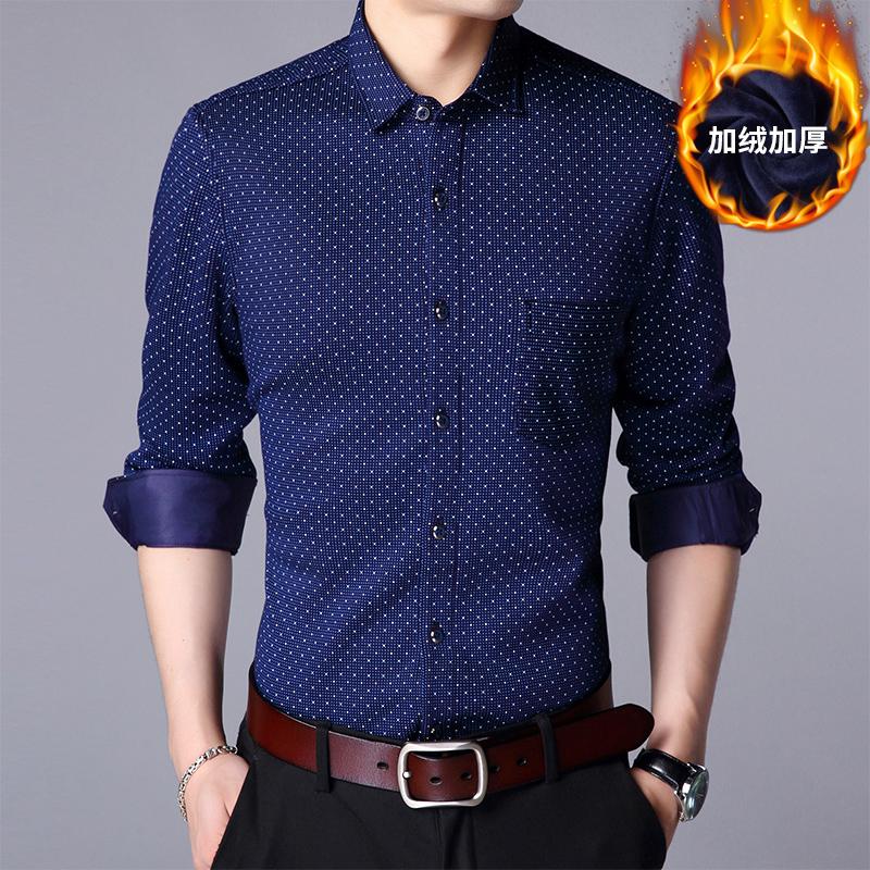 秋冬季男士长袖衬衫韩版修身加绒保暖衬衣潮流休闲商务印花寸衫x