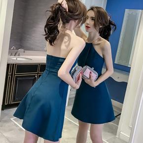 新款露肩背女连衣裙 性感挂脖A字裙