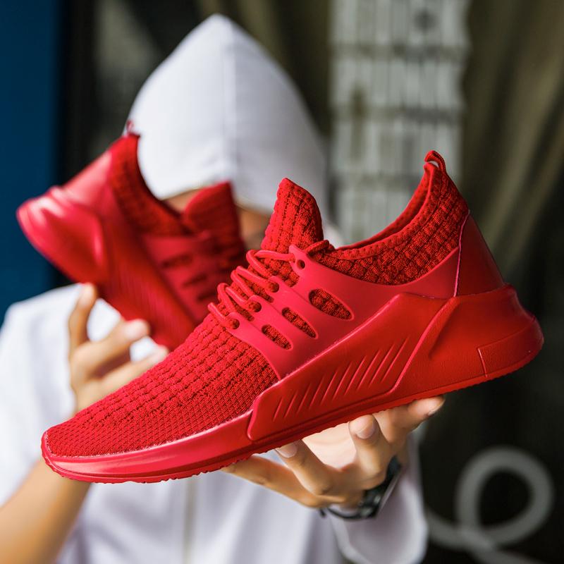 好看男生穿的红色鞋子男孩小伙子系鞋带跑步运动鞋悠闲休闲男秋冬