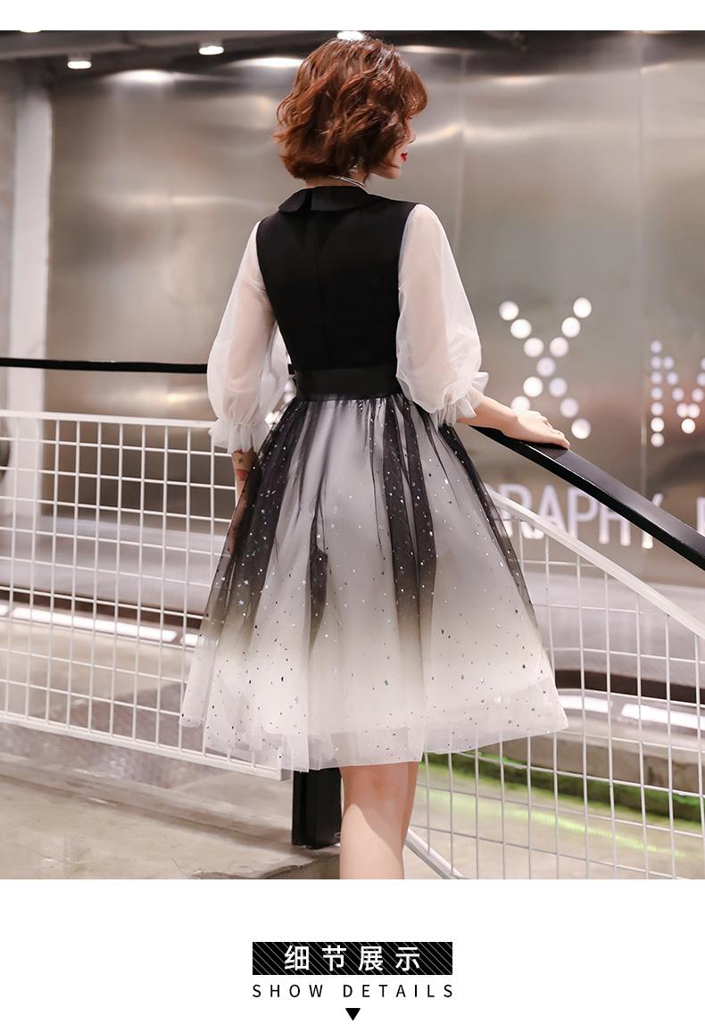 黑色小晚礼服裙女气场女王显瘦派对洋装连身裙平时可穿短款主持人详细照片