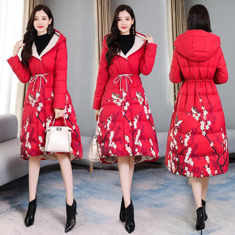 代购棉袄女中长款2019新款潮冬季外套中国风裙摆女收腰棉服式棉衣