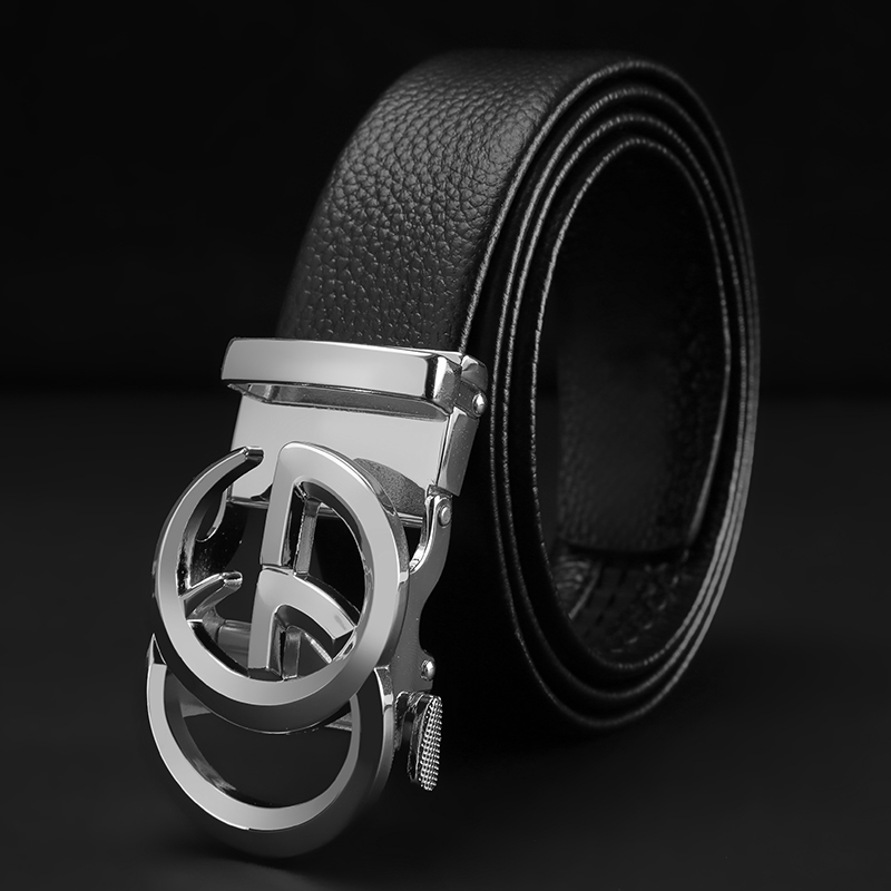 Men's belt automatic buckle layer leather personality casual fashion Korean version of the hipsters wild simple belt belt belt men