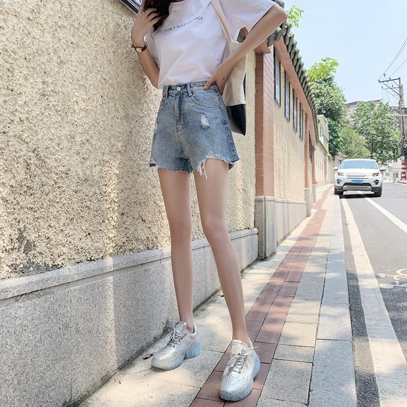 牛仔短裤女2019夏季新款韩版宽松破洞高腰显瘦百搭a字毛边热裤潮