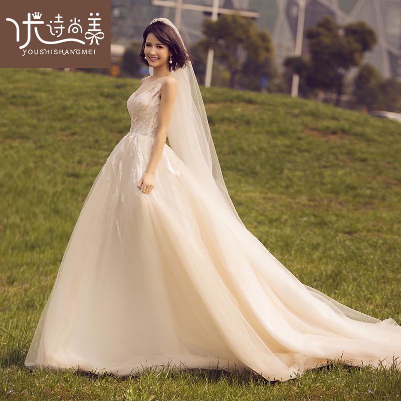 0c670c3783e4b Sen department was thin and light wedding dress 2019 summer new bride slim  dress tube top champagne tail princess dream fairy