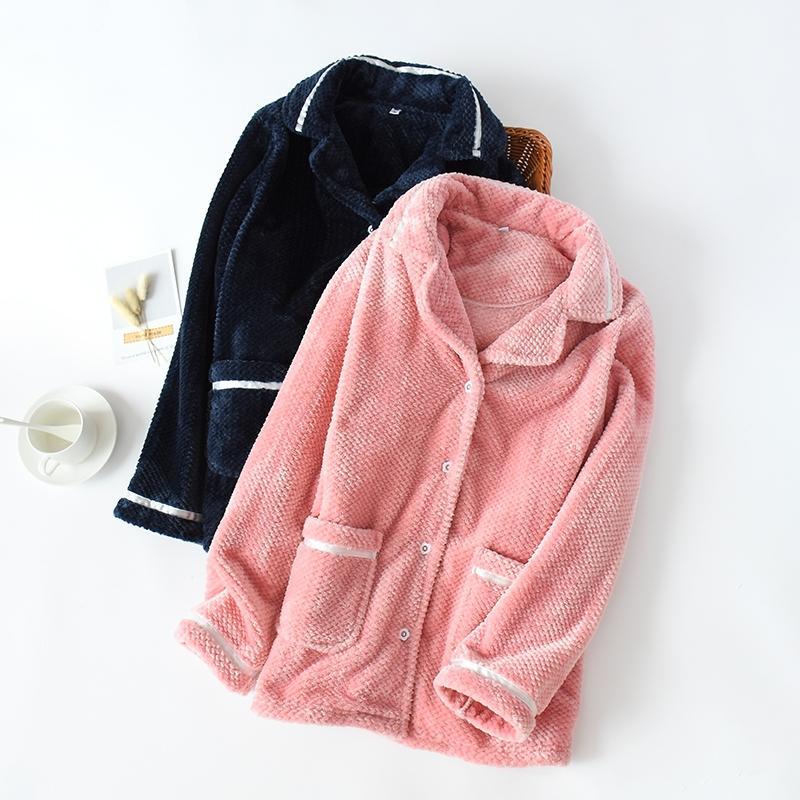 Mùa thu và mùa đông áo khoác san hô đôi nữ dày lên của phụ nữ flannel cộng với flannel flannel đơn đồ ngủ mùa đông - Pyjama