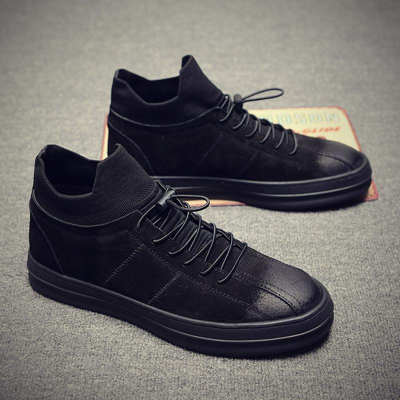 黑色板鞋男韩版休闲鞋男鞋秋季潮鞋2018新款英伦皮鞋百搭高帮鞋子