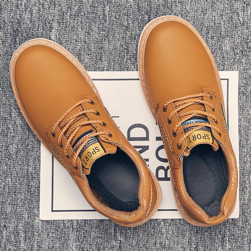 秋冬季棉鞋鞋男士皮鞋潮流低帮马丁靴加绒工装大头韩版休闲鞋子男