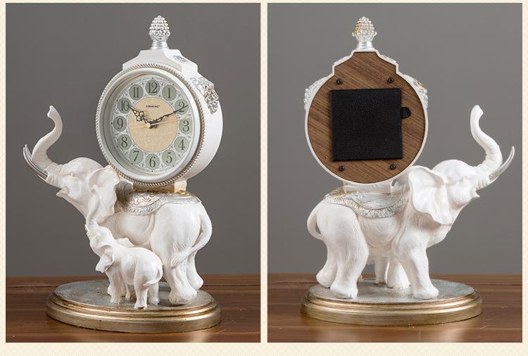 〖洋碼頭〗家用歐式鐘錶座鐘擺件客廳大號桌面創意臺鐘大象招財擺鐘臺式時鐘 xtm124