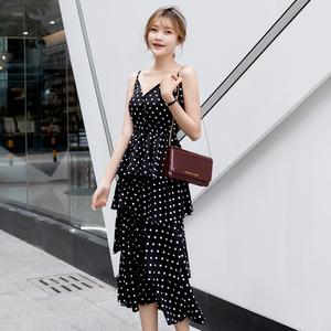 连衣裙2020新款夏季雪纺吊带波点蛋糕裙气质超仙甜美收腰显瘦长裙