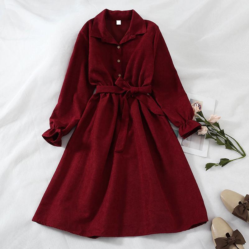 冬季新款2020韩版法式洋气中长款连衣裙女裙子宽松秋冬气质长袖潮