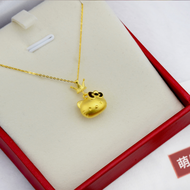 e17d082d2 Gold 999 Hello Kitty Cat Gold Pendant Small 3d Hard Gold Female kt ...