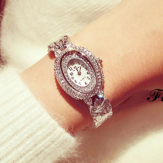 Genuine BS new oval watch fashion trend students high-end bracelet watch full of diamond British watch waterproof female watch