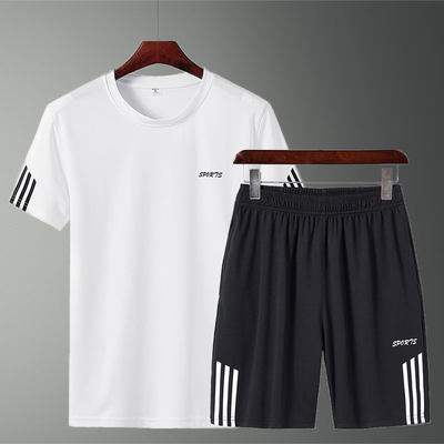 Men's Summer Sports Suit Shorts Two-piece Men's Short Sleeve T-Shirt Sportswear Loose Casual Pants Set Men