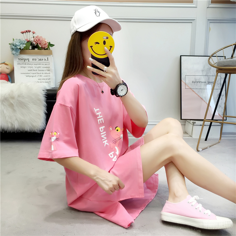 Short-sleeved T-shirt female summer dress Korean version of the loose large size women's long section of the shirt missing cute student clothes tide