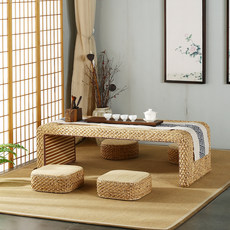 Japanese tatami coffee table Bay window table hand-woven rattan tea table Zen 炕 table balcony table window table small table