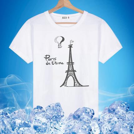 夏季新款短袖t恤男士巴黎塔印花纯棉圆领宽松韩版半袖体恤潮流