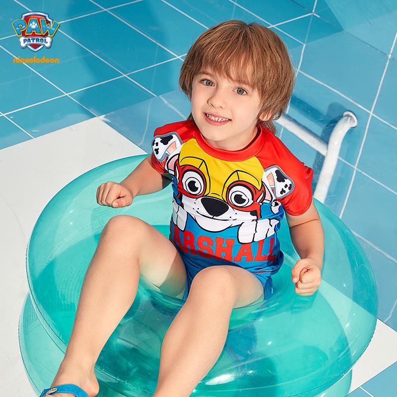 汪汪队儿童泳衣男童分体泳装2021新款卡通女童游泳衣网红套装衣服