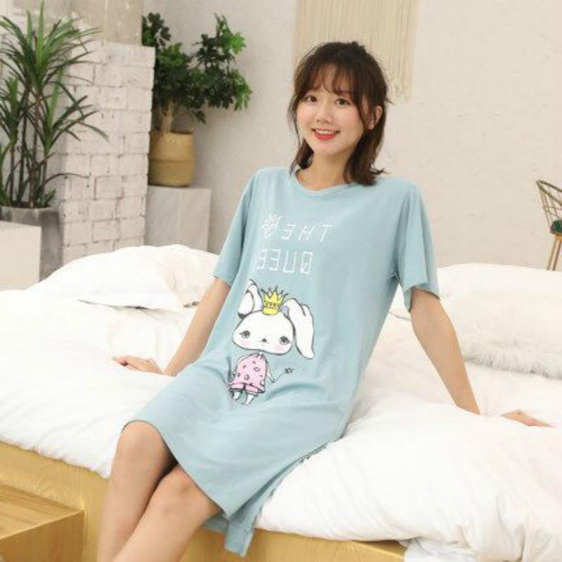 睡裙女夏薄款纯棉睡衣家居服休闲短袖卡通