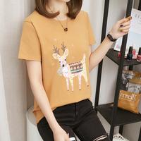 Одежда женская лето 2019 новая коллекция корейская версия Джокер летняя футболка студентка свободная верх одежда короткий рукав Женская внутренняя половина рукава