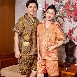 Khan steaming suit women plus fat plus size men's cotton foot bath bathrobe bathroom pajamas high-end couple cotton sauna suit