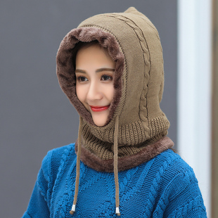 Hat female winter plus velvet thick knitted sweater cap cycling warm hat winter earmuffs scarf one baotou cap
