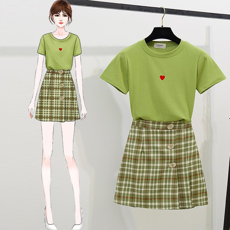 夏装2020新款芥末绿套装法式复古上衣个性半身裙a字裙短裙两件套