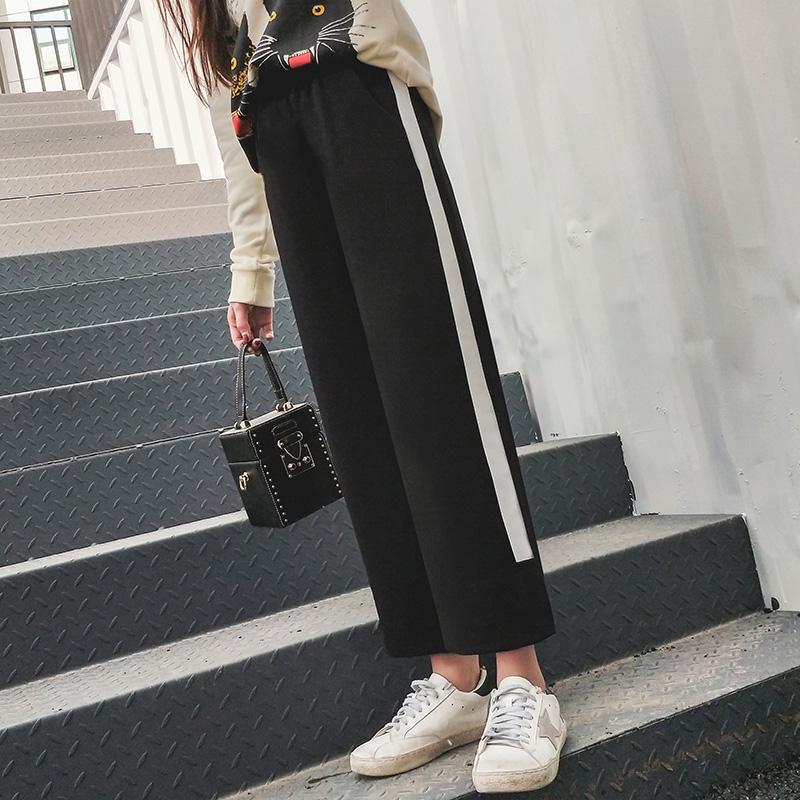 毛呢阔腿裤女秋冬季2018新款高腰呢子直筒裤韩版ins宽松九分裤潮