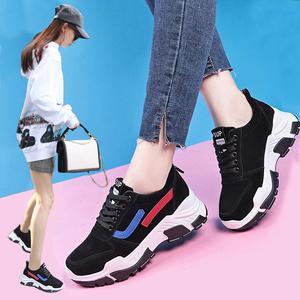 跑步鞋女秋冬季2019新款韩版百搭休闲鞋厚底加绒网红同款运动鞋子