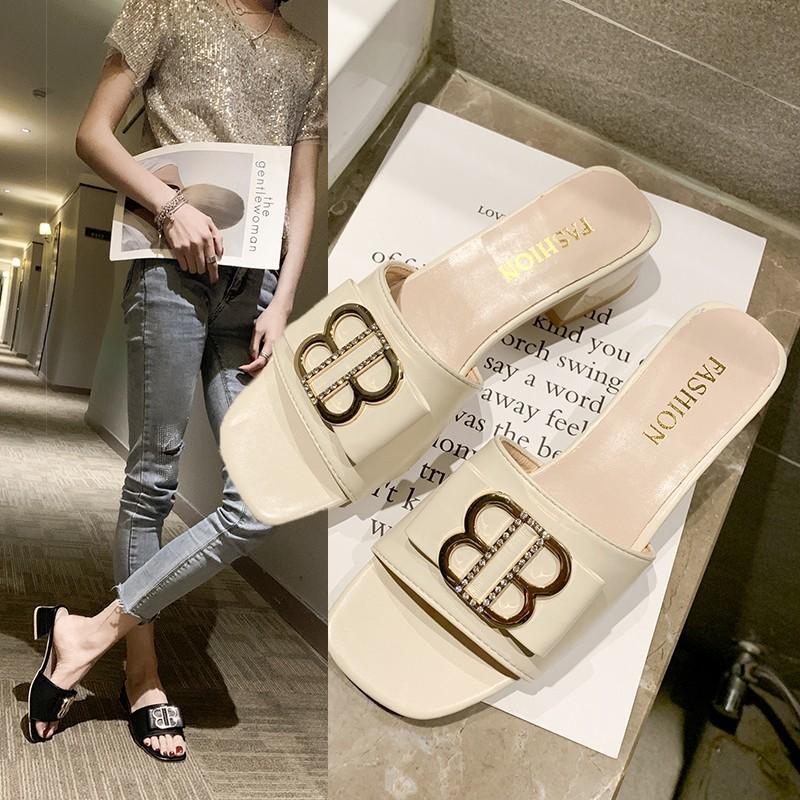 凉时尚女网水钻穿拖鞋百搭2019新款韩版拖鞋高跟红外粗跟一字金属