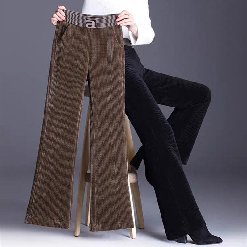 灯芯绒阔腿裤加厚高腰显瘦垂感直筒微喇裤