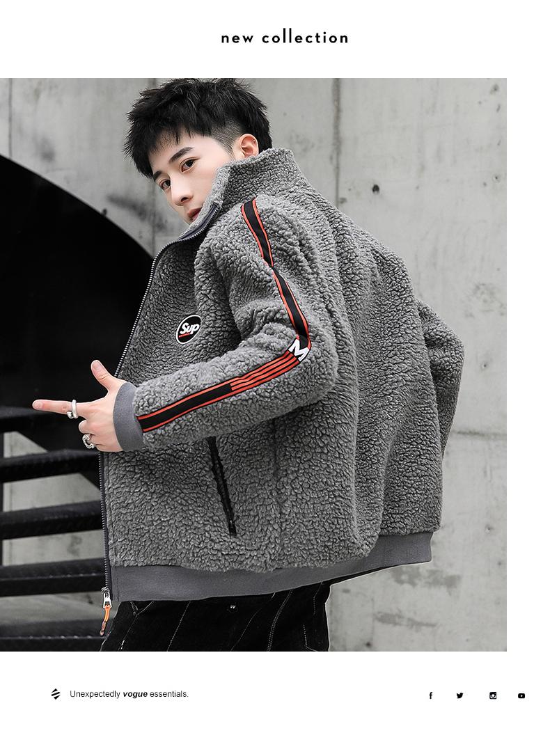 Coat men's autumn/winter 2020 new trend grain granulated velvet autumn jacket plus plus thick lamb jacket 57 Online shopping Bangladesh