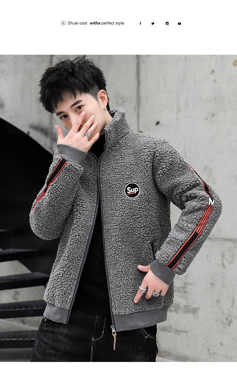Coat men's autumn/winter 2020 new trend grain granulated velvet autumn jacket plus plus thick lamb jacket 56 Online shopping Bangladesh