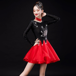 black with red diamond competition latin dress  for women long sleeves Three step show dress Latin dance Cha Cha Dance Costumes