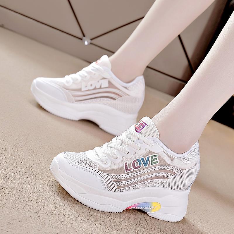 内增高小白鞋女2020夏季新款网面透气百搭单网女鞋运动鞋v女鞋鞋子