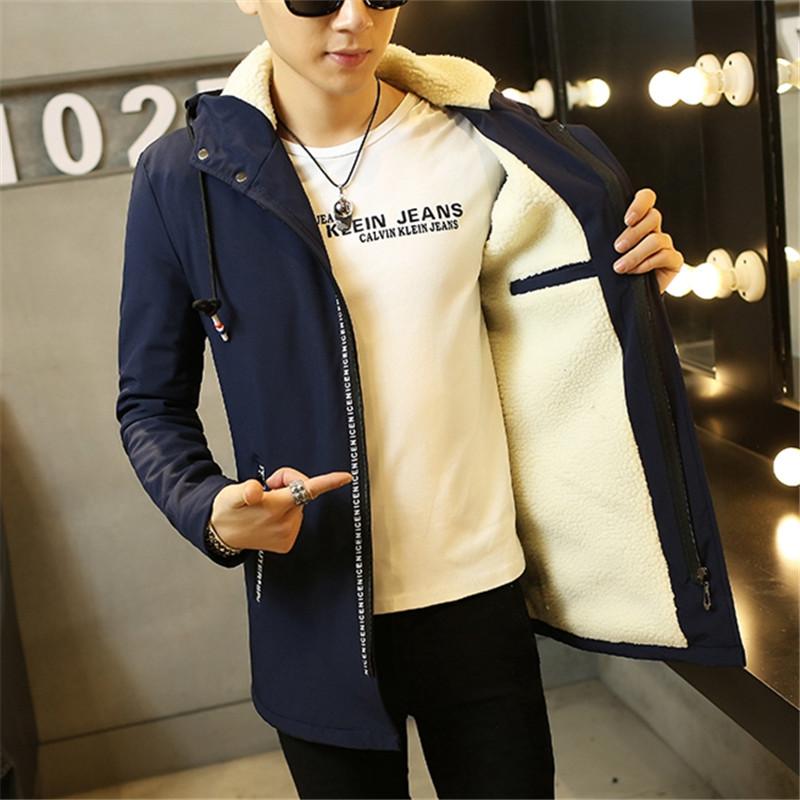 秋冬季新款青年男士中长款夹克韩版潮流保暖男装冬装加厚加绒外套