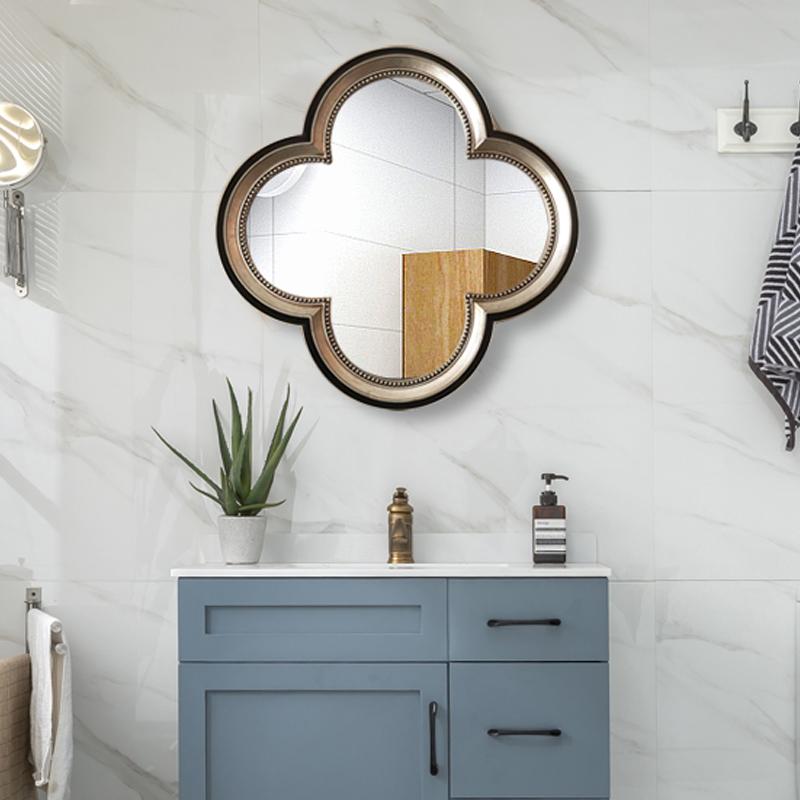 欧式卫生间壁挂复古镜子镜防水异形梳妆化妆镜镜台卫浴镜浴室厕所