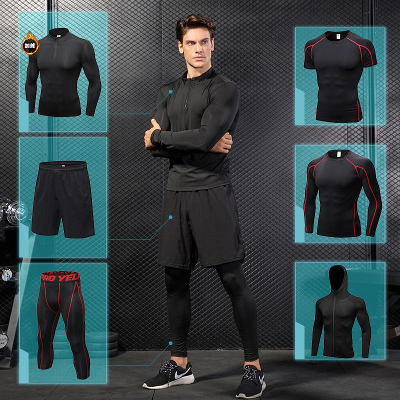 【Фитнес сильный】Итальянская одежда для тренировки сассо мужской комплект Спортивные быстросохнущие колготки для бега, тренировочный костюм весна и лето