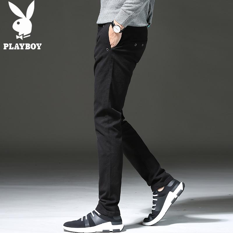 花花公子秋冬季休闲裤男修身小脚弹力韩版男裤子潮流黑色加绒长裤