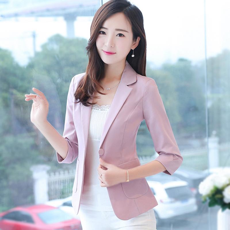 小西装女外套韩版修身2018新款夏季薄款七分袖休闲西服女士上衣