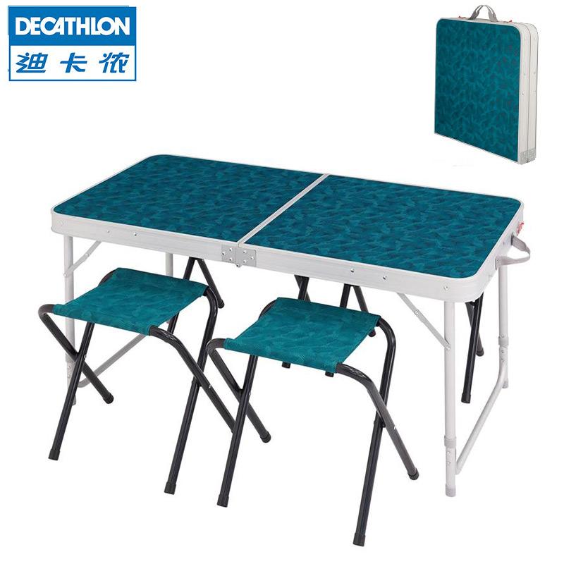 迪卡侬折叠桌户外便携折叠桌椅露营简易餐桌套装4-6人QUNC