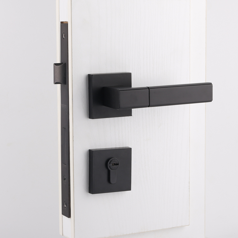 USD 59.72] Taiwan Bai Li Black door lock American indoor square ...