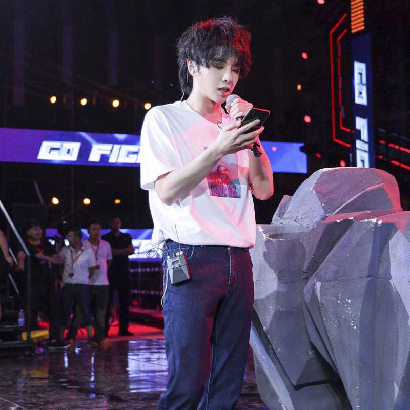 《极限挑战》华晨宇花花同款人物印花纯棉白色短袖T恤明日之子上衣潮