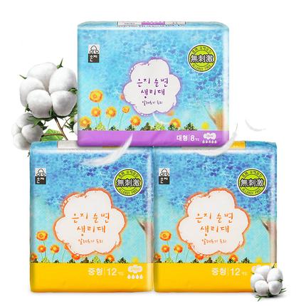 恩芝卫生巾韩国原装进口卫生巾3包32片无荧光剂日夜用组合