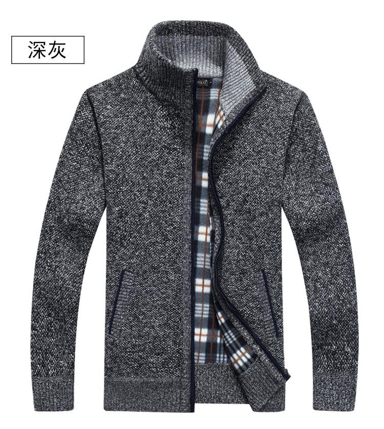Hàng ngày đặc biệt dây kéo áo len cardigan thường lỏng áo len mùa thu áo cao cổ áo của nam giới dài tay áo cộng với nhung ấm áp