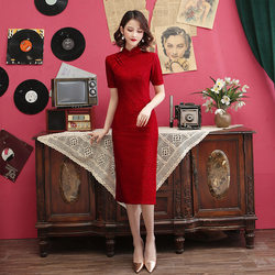 Red happy mother-in-law wedding dress cheongsam dress lace female 2021 new style large size mid-length middle-aged mother elegant