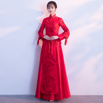 Traditional Chinese Clothing Chinese dress walk show long girl cheongsam performance show kimono marriage