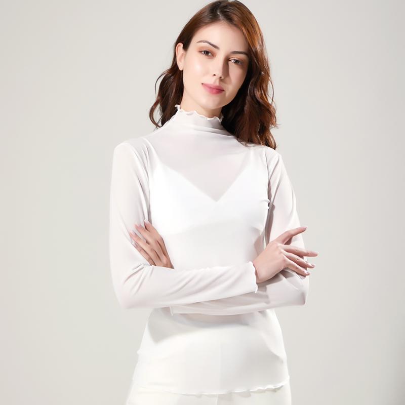 超仙网纱打底衫女长袖薄款春秋内搭高领洋气透视性感蕾丝上衣弹力